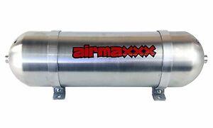 "3 Gallon 6 Port Air Tank 24"" Seamless Raw Aluminum Air Ride Suspension System"
