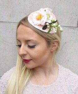Blush Pink Peach Cream Berry Flower Fascinator Teardrop Races Hair Headband 2647