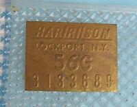 Corvette 1956 Harrison Brass Radiator Tag 1956 July