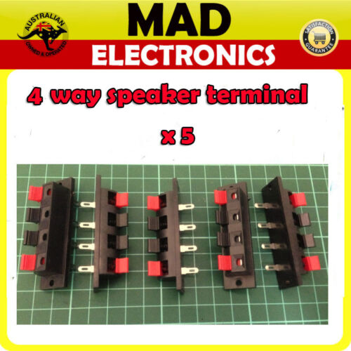 5 Lot x 4 Way Speaker Terminal Push Connection Spring Level Red/&Black