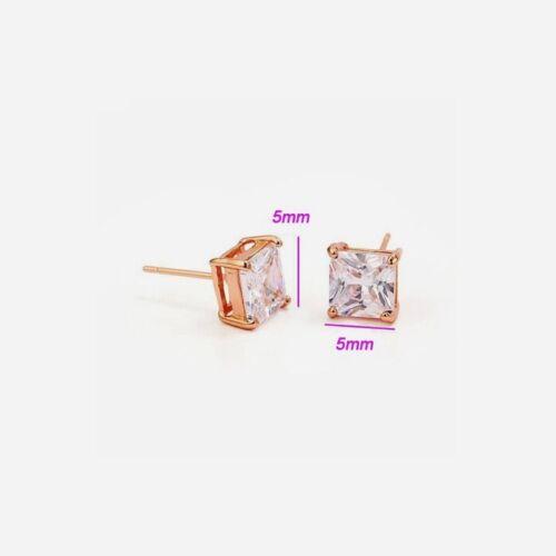 "549 10 /& 5mm 9ct 9k Rose /""GOLD FILLED/"" Men Ladies White Stone Stud Earrings"