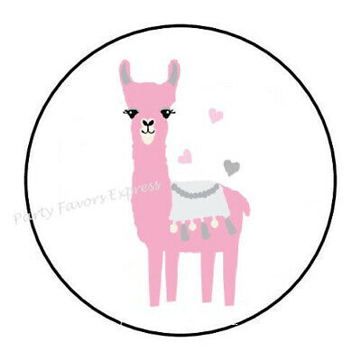 """30 LLAMA WITH FLOWERS ENVELOPE SEALS LABELS STICKERS PARTY FAVORS 1.5/"""" ROUND"""