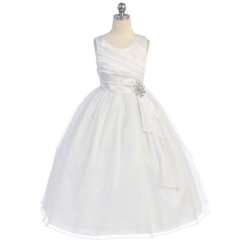 WHITE Flower Girl Dress Formal Recital Dance Wedding Party Birthday Pageant Gown