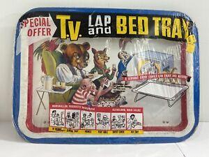 NOS Vintage Marshallan Products TV Lap & Bed Tray Bear Rabbit Monkey Wolf Parrot