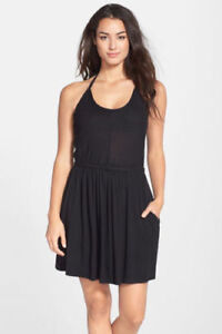 NWT-Robin-Piccone-Shutter-Pleat-Halter-Cover-Up-Dress-S-Black