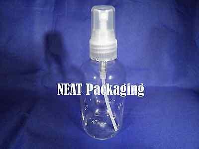 6 x 100ml Boston Round Squat Empty Plastic Bottles in Clear with Spray Pump
