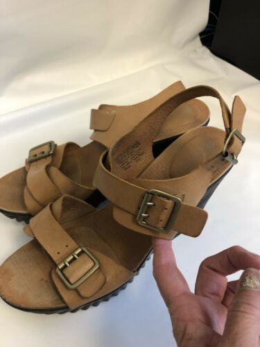 Women Rockport Wedge Sandals LEATHER TAN Size 10 A