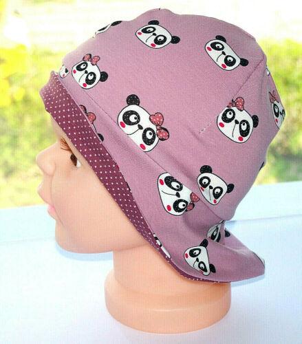 Baby Sonnenhut Mütze Jersey Panda Flieder  45-48cm  KU passend Handmade*Neu