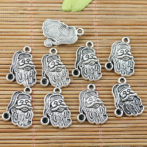 14pcs Tibetan Silver Santa Claus Head Charms EF1865