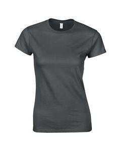 Gildan-Donna-Antracite-Donna-Stile-Soft-Cotone-Aderente-T-Shirt-Manica-Corta