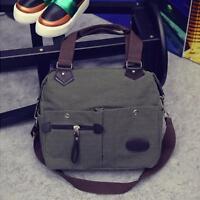 Fashion Men Canvas Leather Satchel School Military Shoulder Messenger Bag