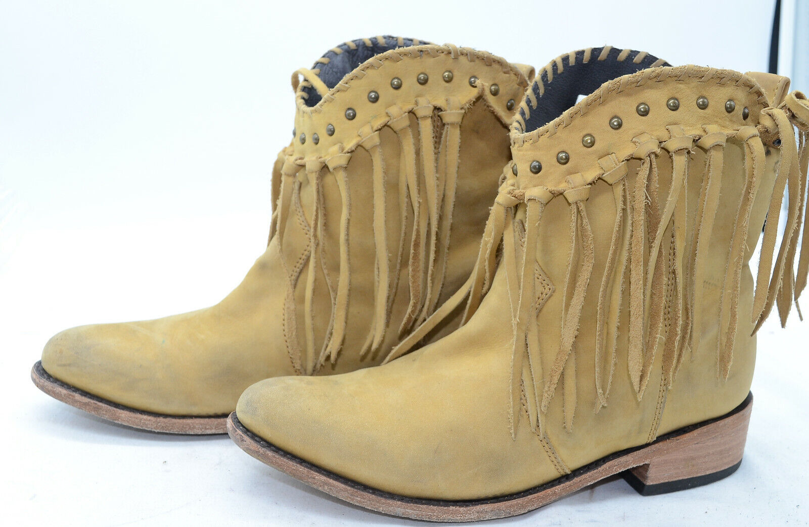 Vtg Fringed Studded Leather Tan Western Riding Ankle Boots Womens Sz 8
