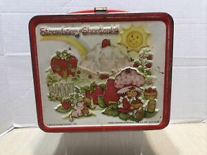 Vintage-Metal-Lunch-Box-Strawberry-Shortcake-ALADDIN-1980-NO-THERMOS-Made-In-USA