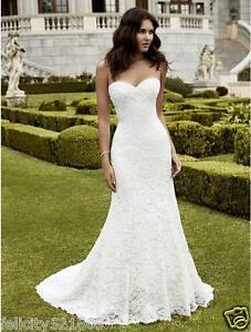 NEW Mermaid Sweetheart White/Ivory Lace Wedding Dress Bridal Gown ...