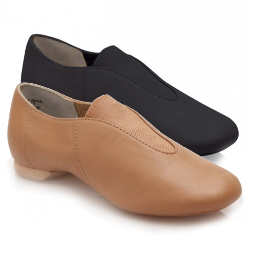 Capezio CP05 Showstoppers slip on split sole jazz shoes - black and caramel