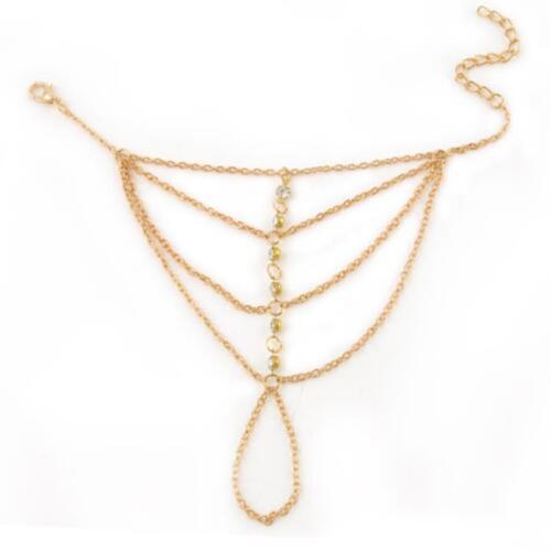 Womens Multi Chain Tassel Bracelet Bangle Slave Finger Ring Hand Harness Z0R RUI