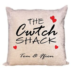 Welsh Cwtch Luxury Personalised Cream Chenille Cushion Cover All Occasion Gift