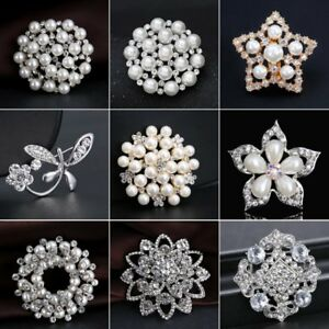 312224cfe Image is loading Fashion-Crystal-Flower-Pearl-Brooch-Pins-Women-Wedding-