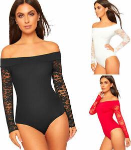 Ladies Leotard Long Sleeve Plain Stretch Top Womens Off Shoulder Bardot Bodysuit
