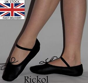 New-Black-Leather-Ballet-Dance-Slippers-Gymnastic-Shoes-Adults-Women-Men-Sizes