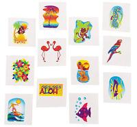 36 3 dz Tropical Glitter Themed Tattoos Hawaiian LUAU Party Favors SH Toys