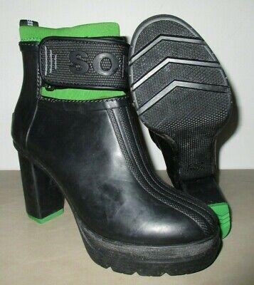 4c0d506c91d Sorel Women Medina III Ankle Rain Platform Heel Booties Black / Green  Rubber 8 | eBay