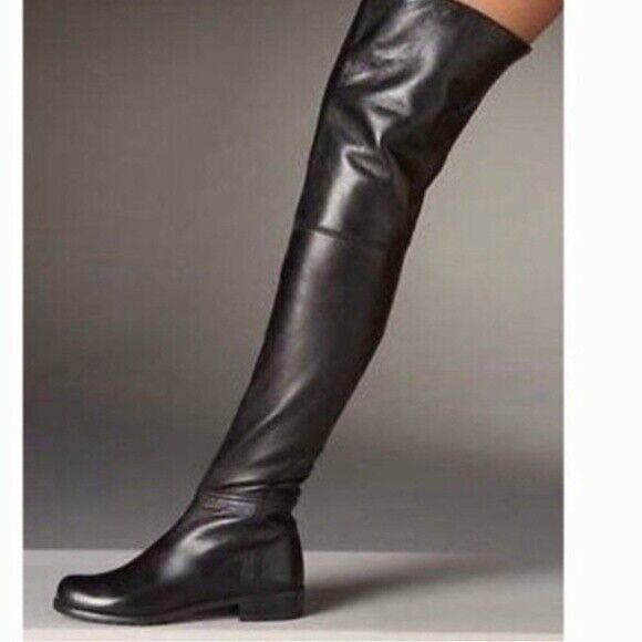 Black Leather Thigh High Flat Boots