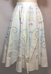NWT-195-Glam-Boho-Hand-Embellished-White-Cotton-Circle-Skirt-Fits-Size-Small