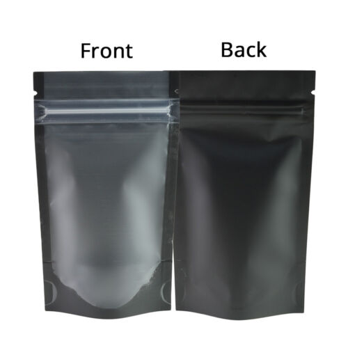 5x7in Matte Clear Front Black Back Mylar Stand up ZipLock Bag w//Machine B03