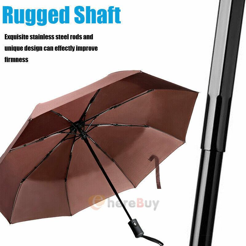 8 Rib Folding Umbrella Large Rain Windproof Men Women Travel Auto Open/Close