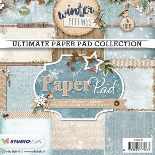 "Studio Light Paper Pad 6/""x6/"" 36//pkg-winter Feelings 9 Designs//4 Each"