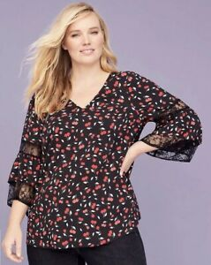 New-Lane-Bryant-Womans-Cherry-Print-Lace-Sleeves-Sz-14-16-18-20-22-24-26-28-NWT