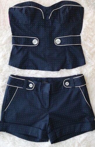 Bustier M Polka Sailor Crop Navy Top Dot senza Set Shorts Halter spalline Nautical 10nxgq4nAU