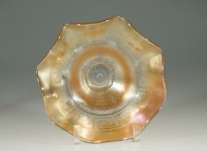Vintage Northwood Carnival Glass Marigold Greek Key and Scales Bowl c.1915