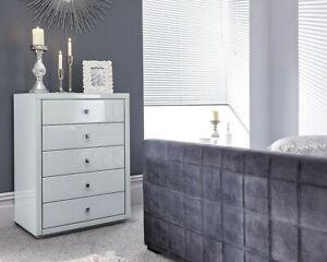 Détails sur Gris ou blanc 5 tiroirs verre Tallboy Tiroir Meuble Chambre  Commode Unité- afficher le titre d\'origine