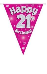 21ST-BIRTHDAY-PARTY-BUNTING-BANNER-PINK-HOLOGRAPHIC-11-FLAGS-3-9M