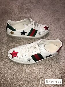 Gucci Ace Star Python-Trimmed Sneakers