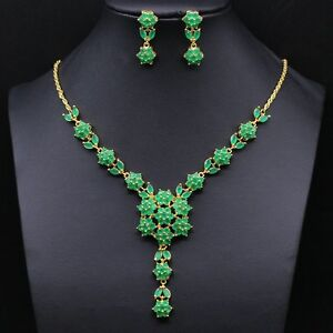 Image Is Loading Fashion Gemstone Fancy Emerald Necklace Earrings 18k Gold