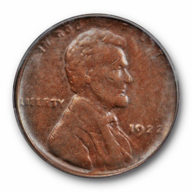1922 No D 1C Weak Reverse Lincoln Wheat Cent PCGS AU 50 About Uncirculated