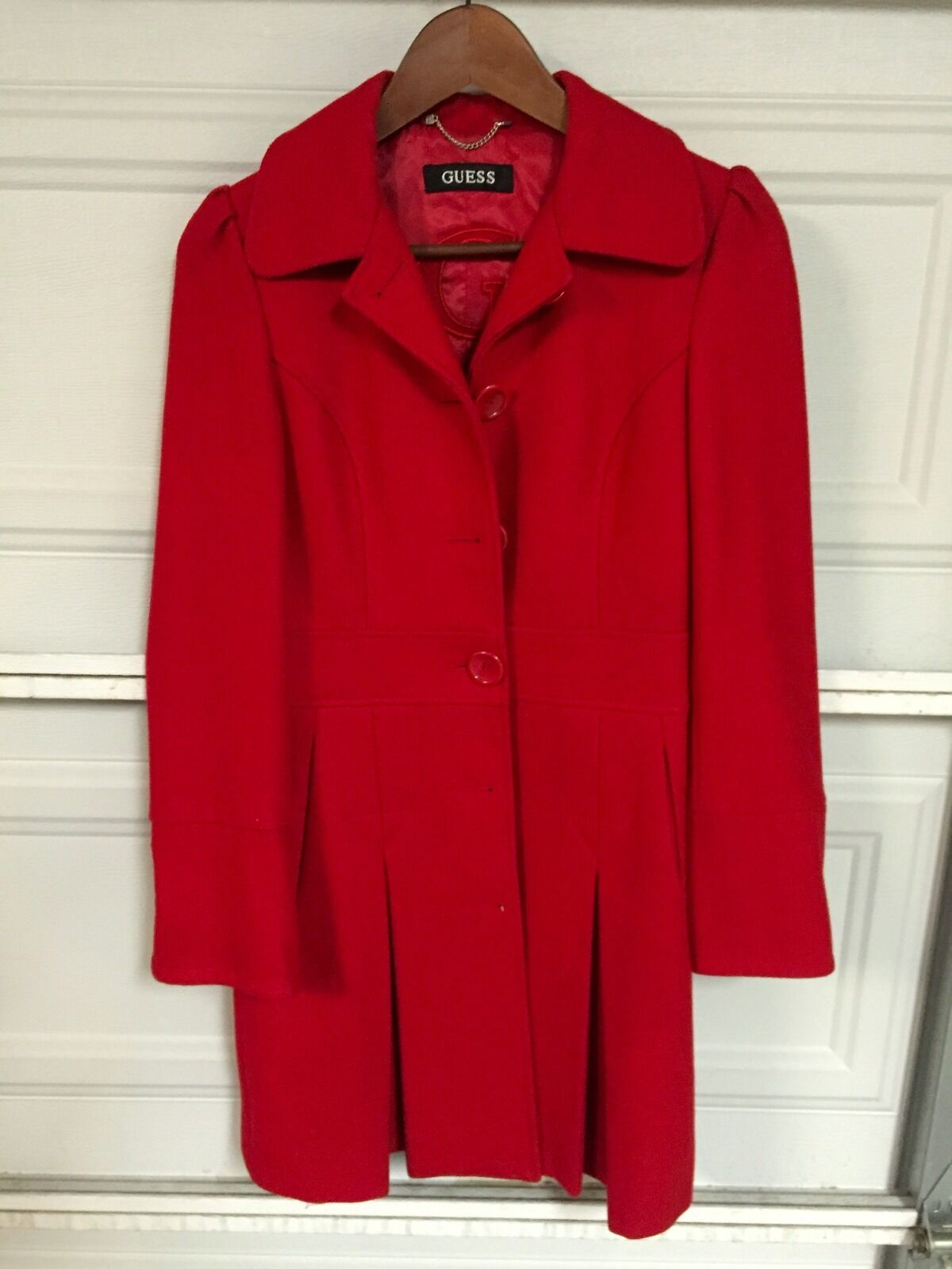 GUESS Long Red Wool Coat - Extra Small - XS