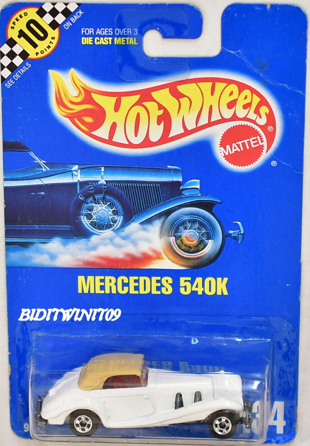 HOT WHEELS 1990 blueE CARD MERCEDES 540K WHITE NO GRILL - ERROR W+
