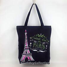 Travel Statement Reusable Beach Tote Bag Paris Tower Black Canvas Fabric Zipper