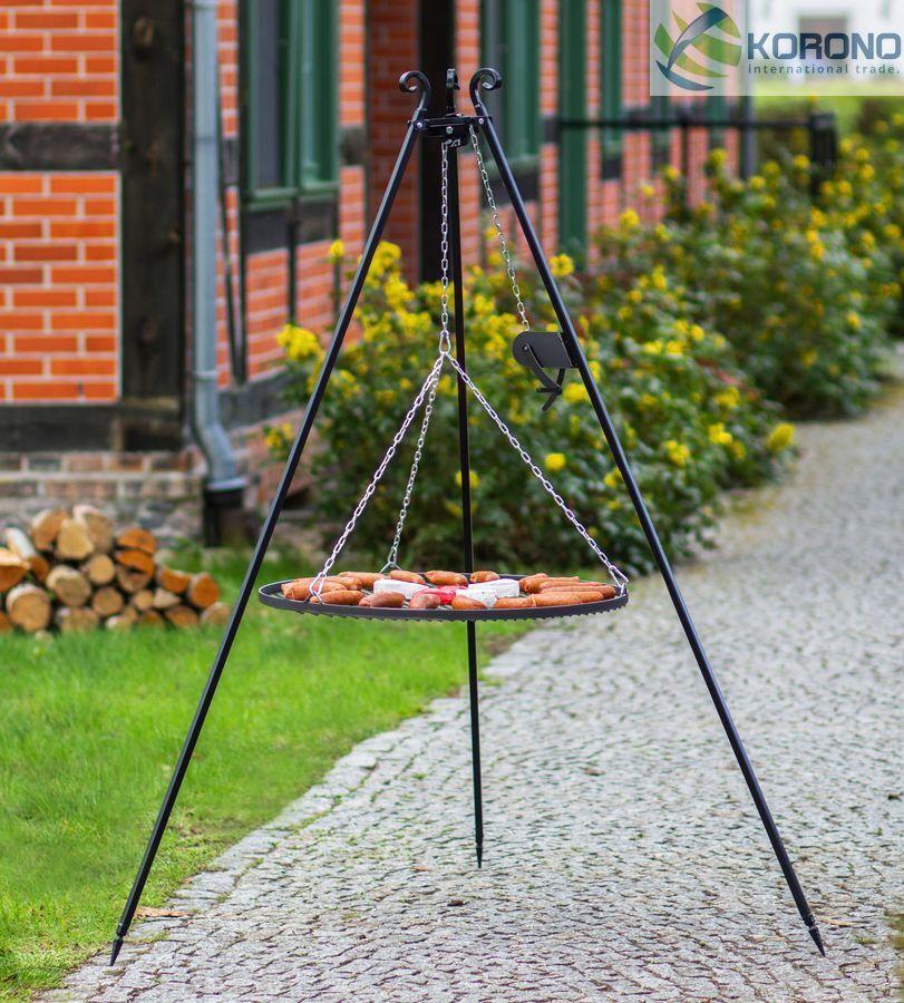 Korono Trípode Parrilla Oscilante con Manivela, Altura 180 cm, Rost Ø 70 cm,