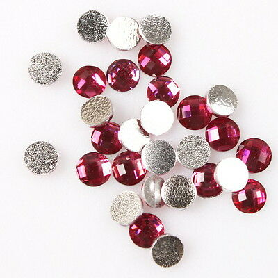 600pcs 24042 Hot Pink Faceted Mini Round Stick-on Flatback Embellishments 4mm