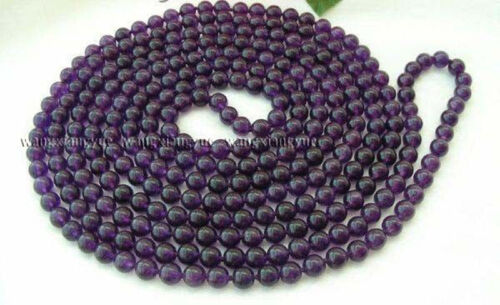 Long 50inch 8mm Russican Amethyst Gemstones Round beads Necklace AAA