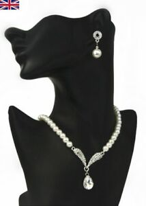Image Is Loading Crystal Pearl Pendant Necklace And Earrings Set Uk