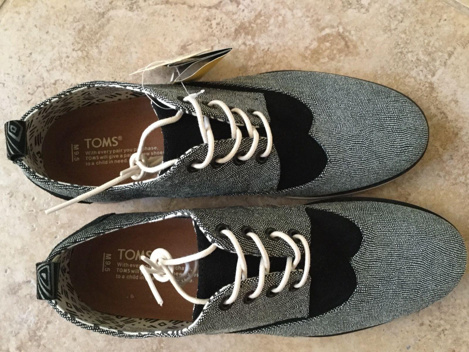 184fc229e1b NEW Toms Men s Brogue V Oxford Dress Shoes Sizes ++ Caviar Leather Vibram  Sole