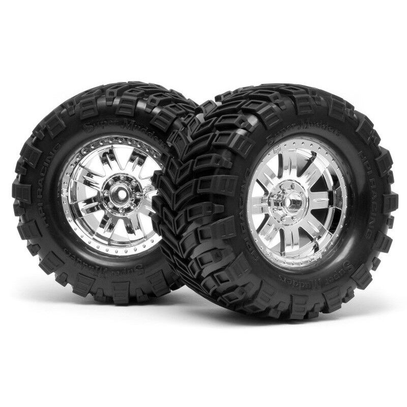 HPI 4726 HPI Racing Super Mudders Mounted Tires Shiny Chrome  2