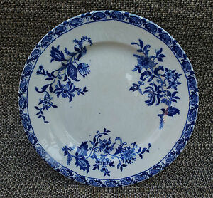 ancienne assiette bleue delft florale pied douche terre de fer french pottery ebay. Black Bedroom Furniture Sets. Home Design Ideas