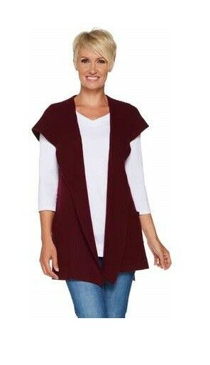 Isaac Mizrahi Live  2-Ply Cashmere Open Front Hooded Vest-Merlot-Large-NEW
